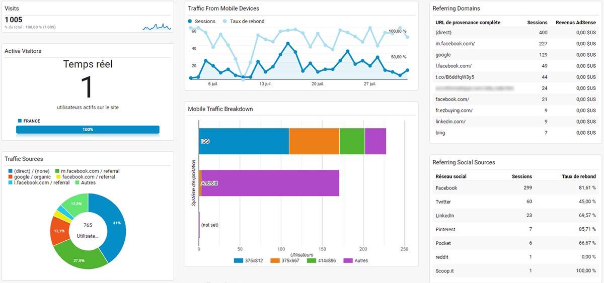 Tableau de bord analytics : visiteurs, engagement et croissance du trafic