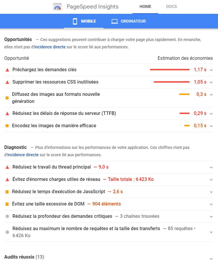 Google PageSpeed critères amélioration vitesse site