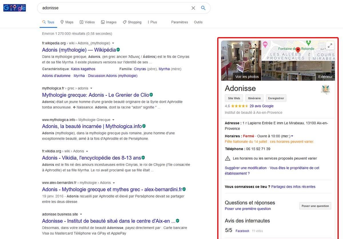"""Panneau entreprise """"knowledge panel"""" sur les résultats google"""