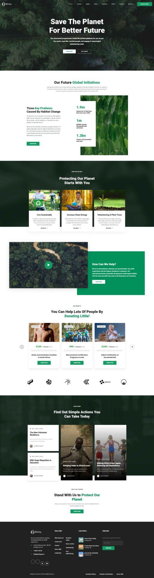 Sterling : WordPress thème pour association planète, vert, bio