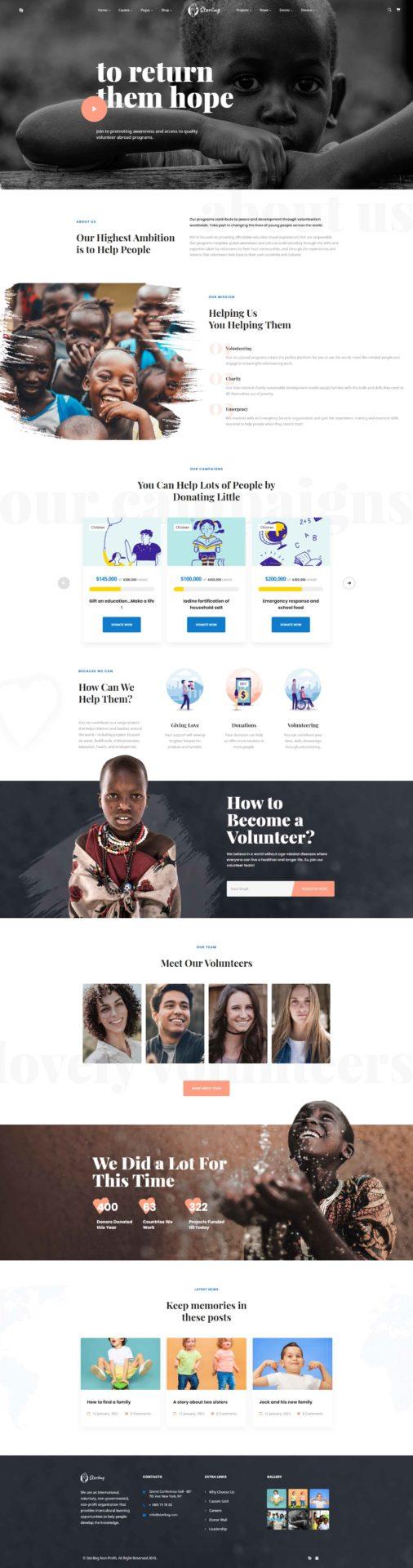 Sterling : WordPress thème pour ONG