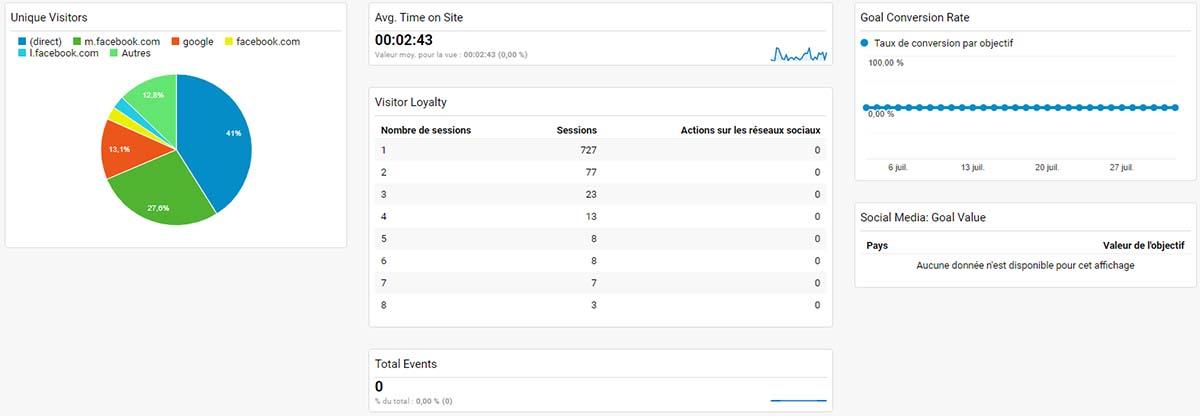 Google Analytics Dashboard : Acquisition, comportement et résultats