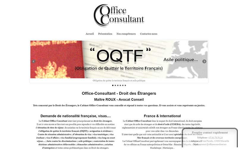 Capture d'écran Office Consultant avocat en droit des étrangers