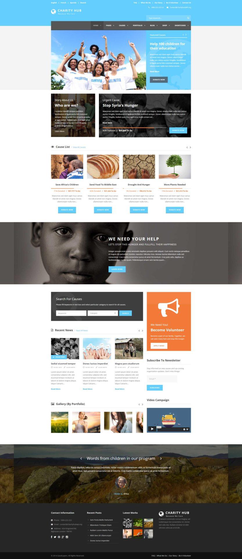 Charity Hub thème WP pour bienfaisance et charité