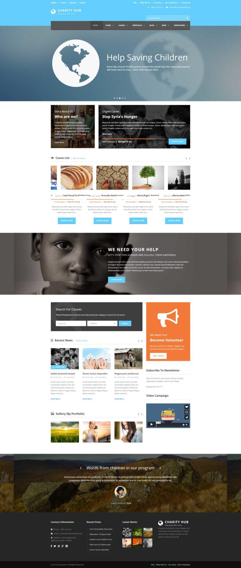Charity Hub thème WP pour ONG