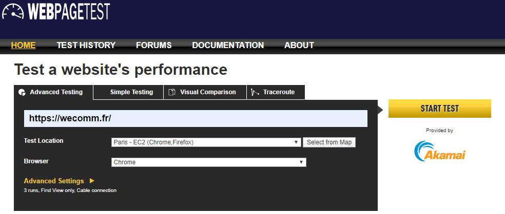 WebPageTest analyse de vitesse site internet