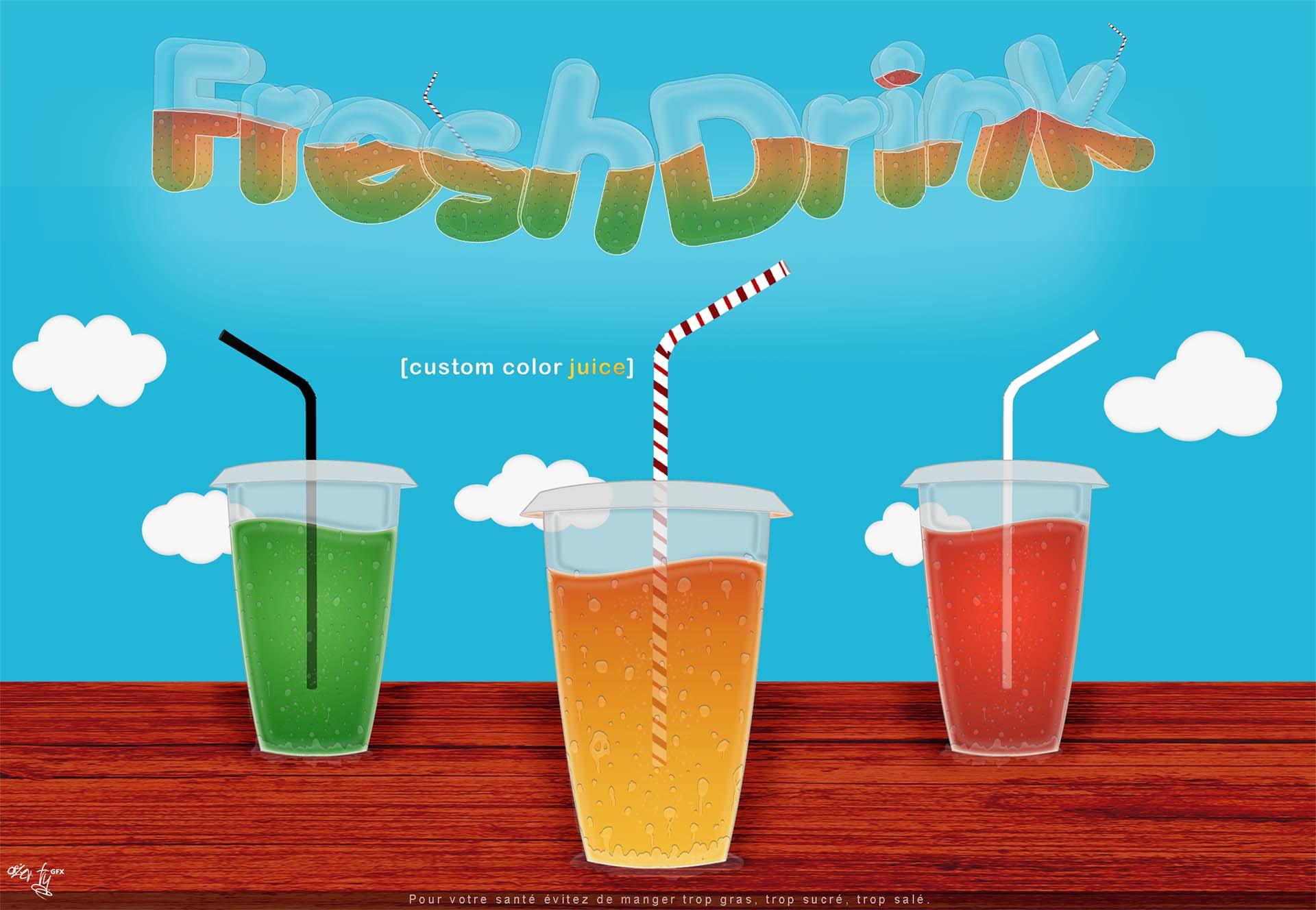 Illustration Freshdrink Affiche Publicitaire