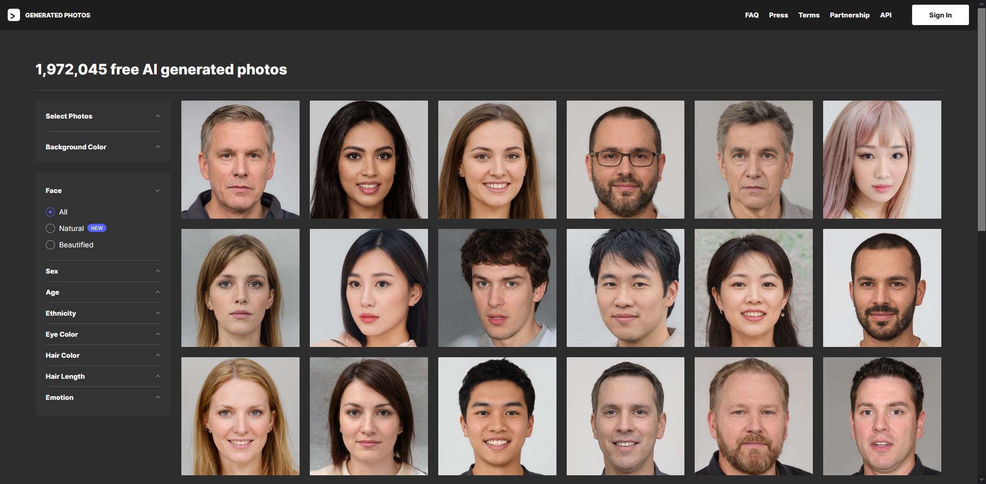 Generated Photos : images de visages factices libres de droits