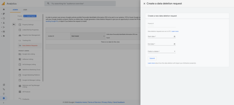 Google Analytics 4 Supprimer données RGPD
