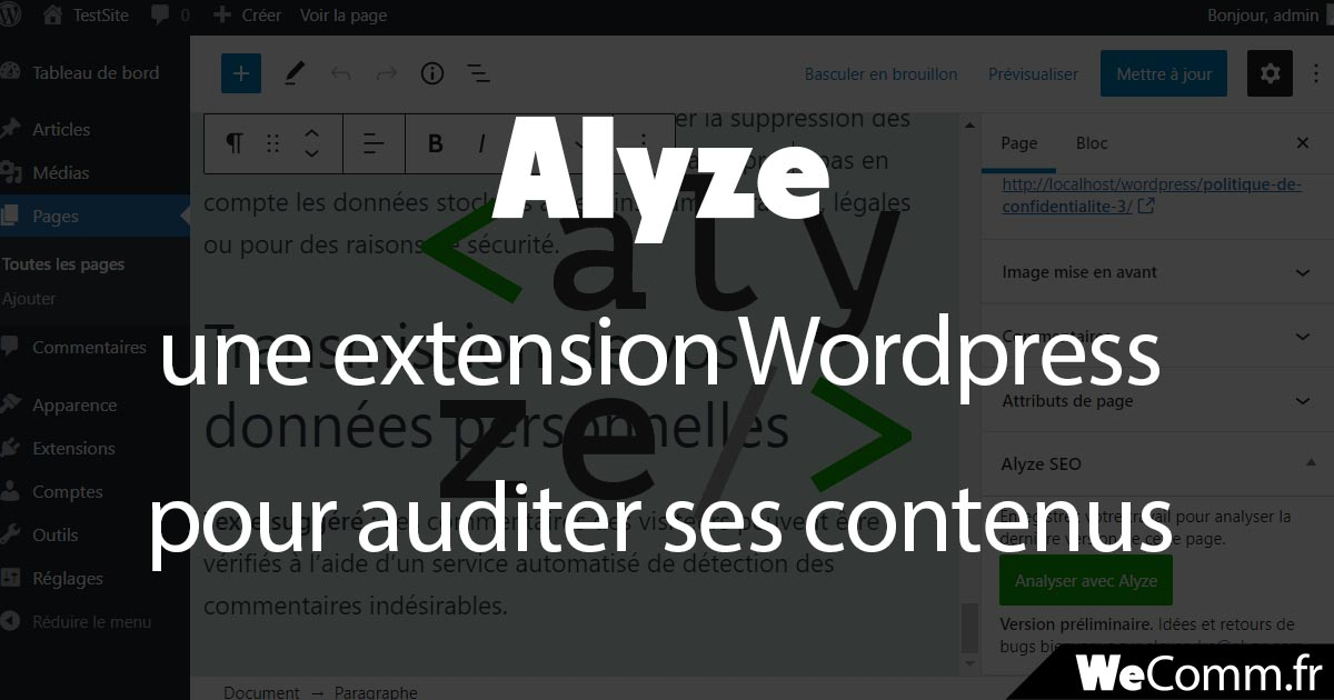 alyze extension wordpress audit contenu seo