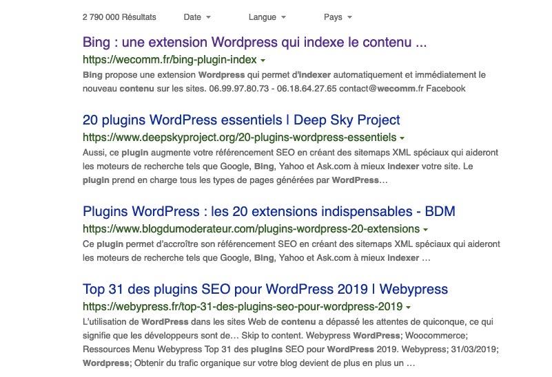Bing SERP indexation automatique grâce au plugin WP URL Submission