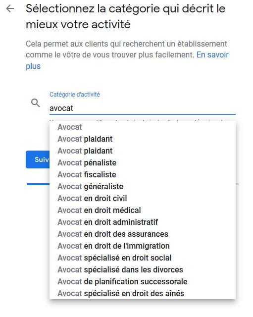Catégorie entreprise google my business