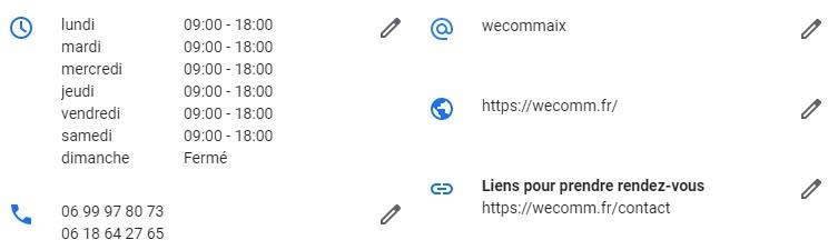 Compléter coordonnées fiche google