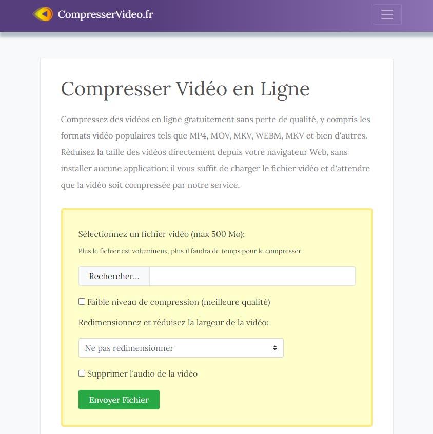 CompresserVideo.fr : Compression vidéo en ligne