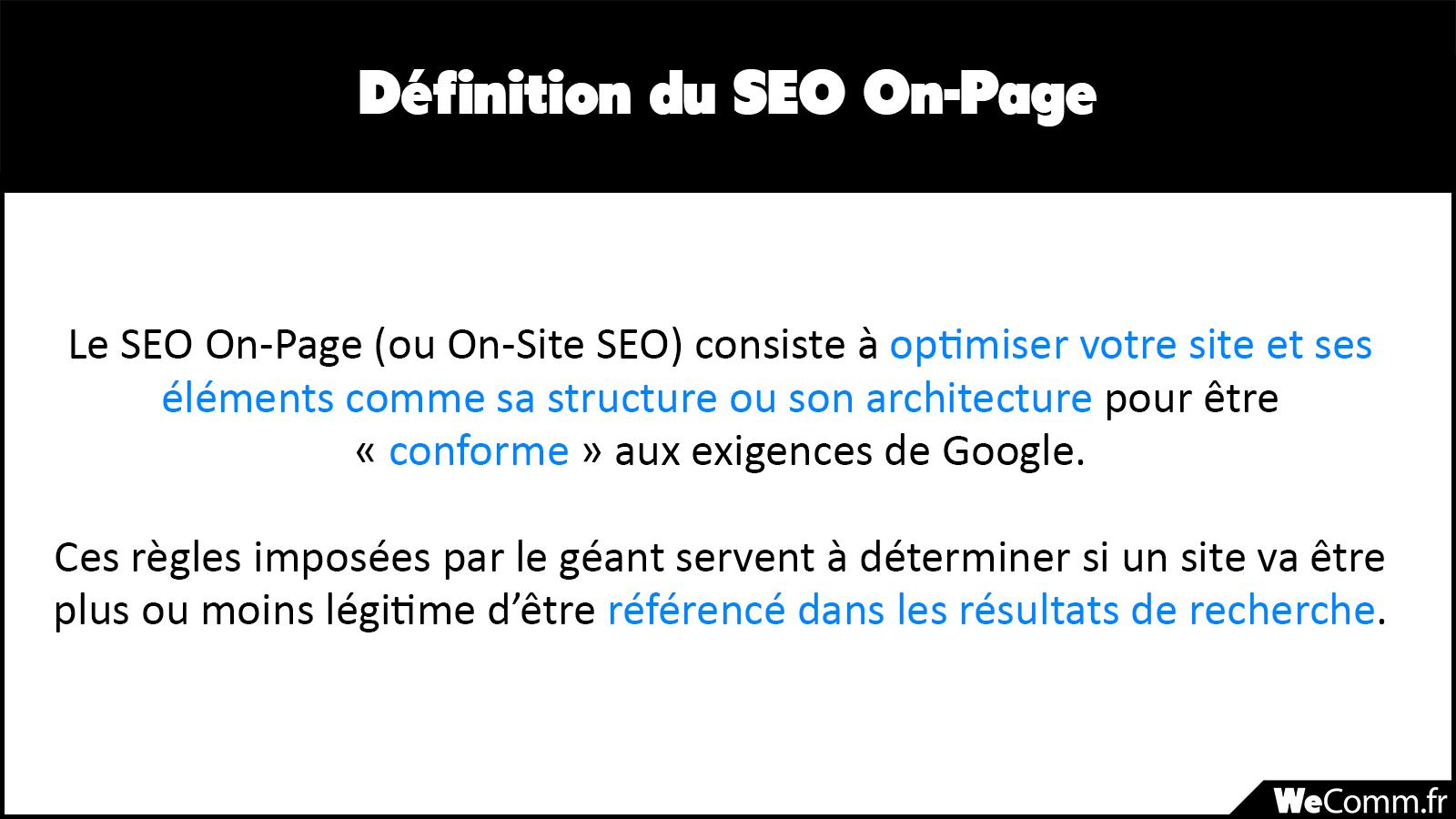 Définition du SEO On-Page