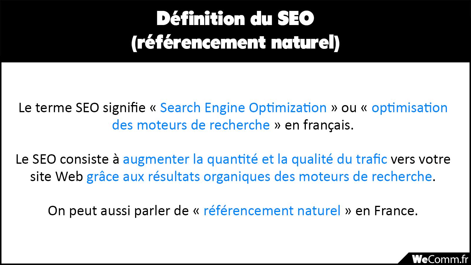 Définition marketing du seo (référencement naturel)