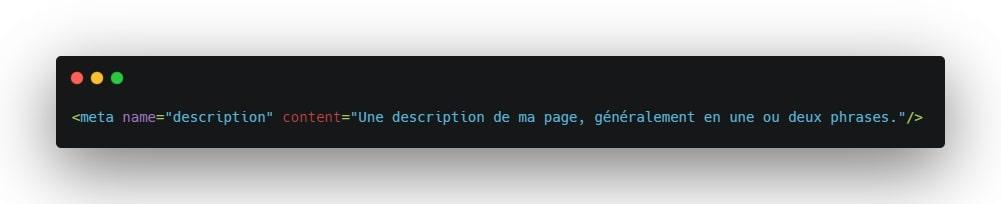 Exemple d'une balise meta description en HTML