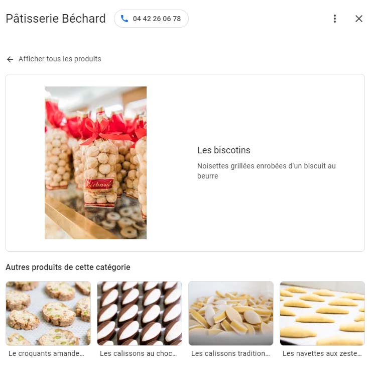 Exemple d'un produit sur une fiche google my business
