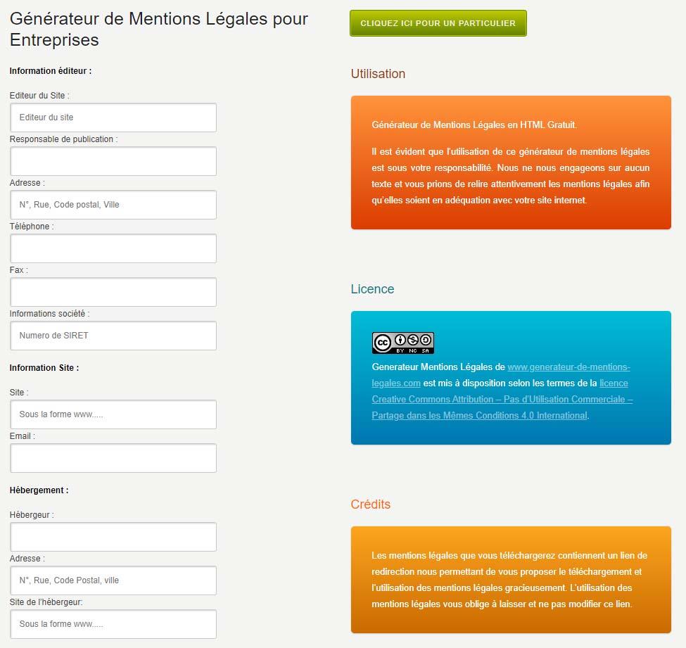 générateur mentions légales cgu website