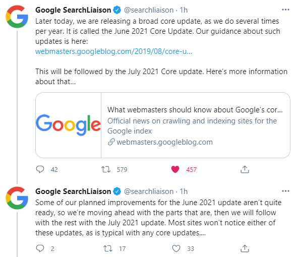 Annonce tweeter de la core update de juin 2021