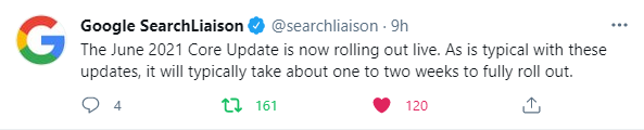 google core update juin 2021 déploiement tweeter