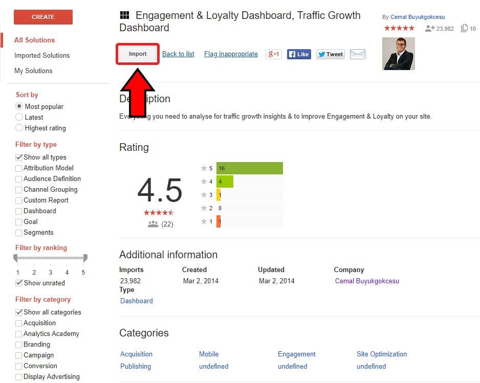 Comment importer un tableau de bord (dashboard) sur Google analytics ?