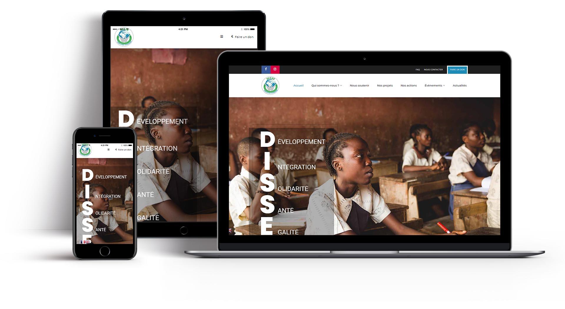 Mockup du site web de la DISSE