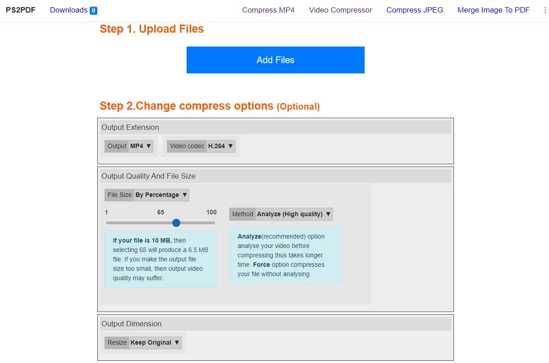 PS2PDF :  compression de fichiers MP4