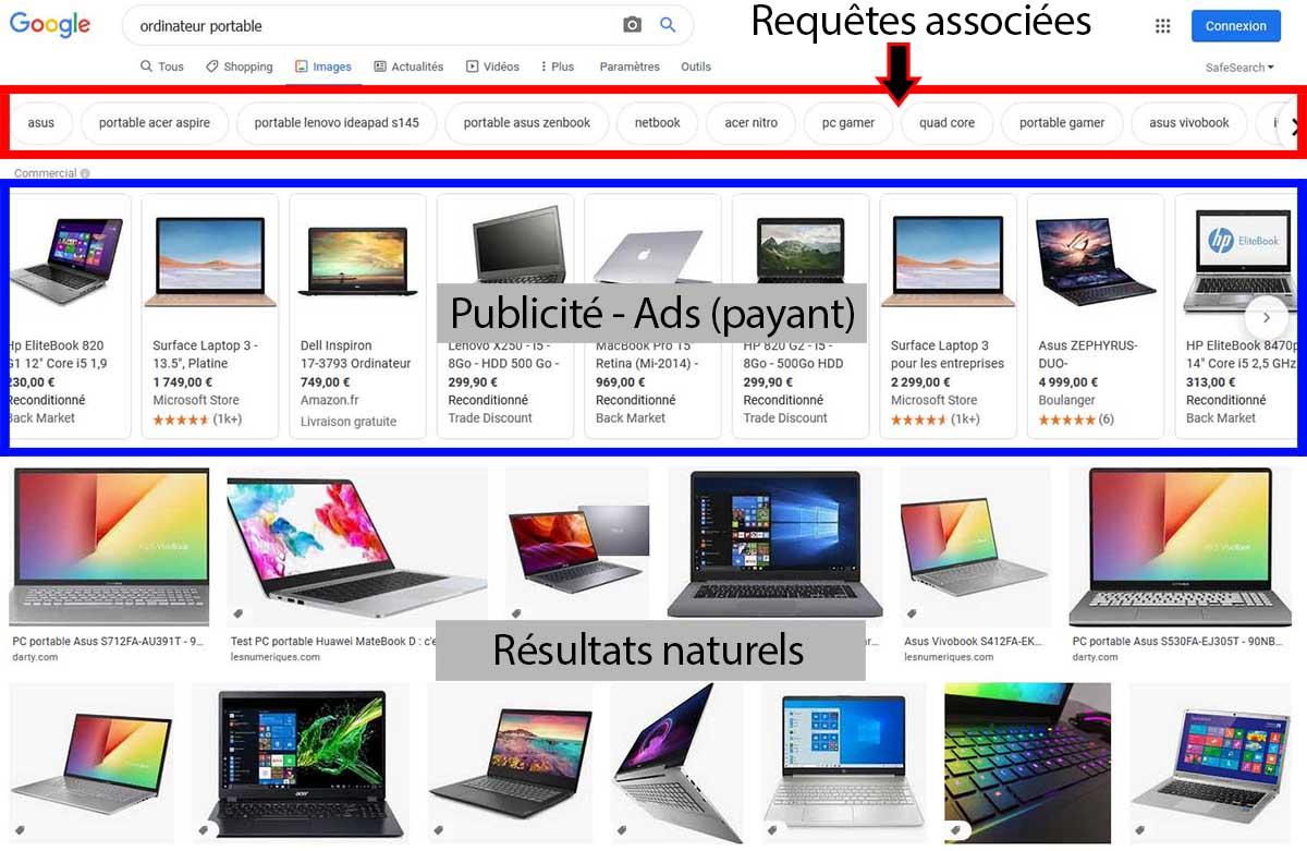 Exemple d'une recherche d'ordinateur portable sur Google Images