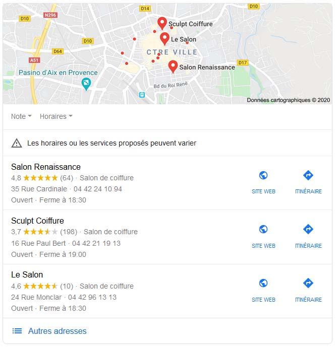 résultats locaux google adresses