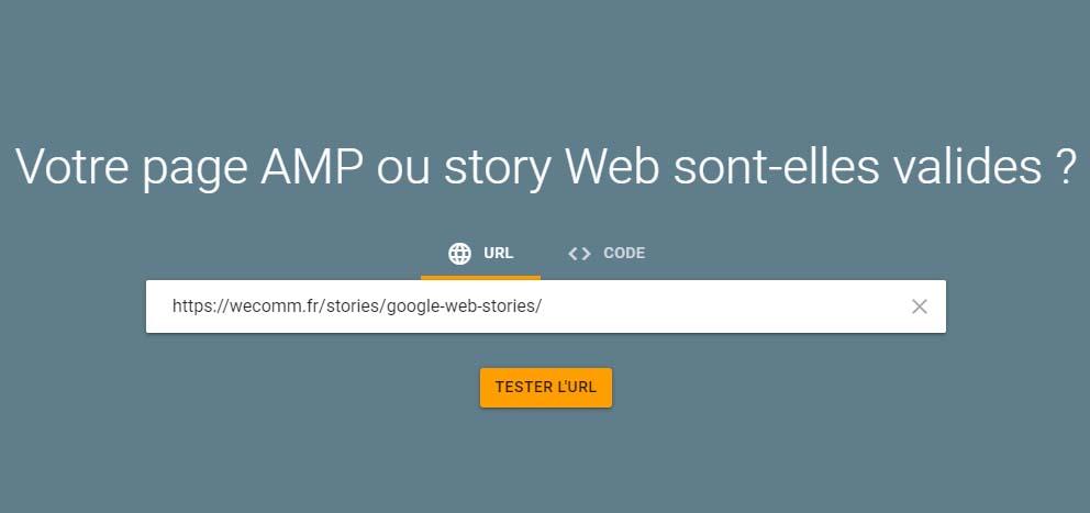 Outil de test AMP pour les Google Web Stories