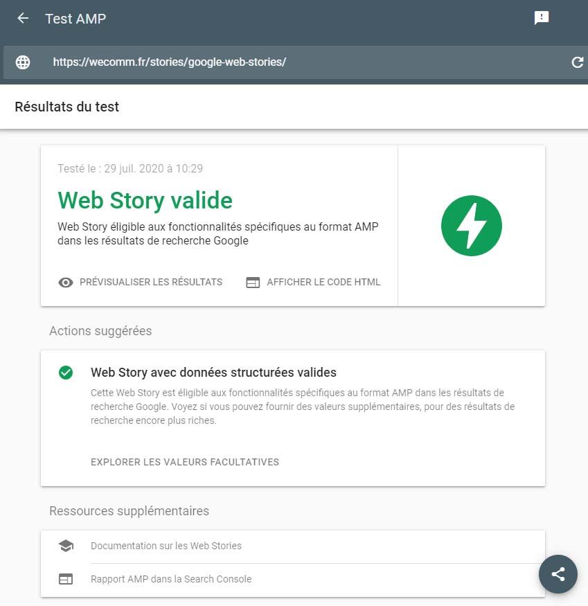 Google Web Story validée par l'outil AMP