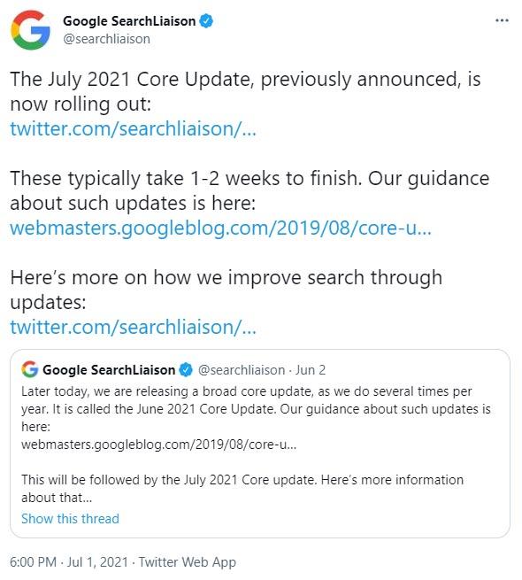 Tweet de l'annonce de la google Core Update July 2021 par Google Search Liaison