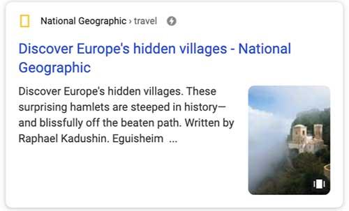 Apparence dans les résultats de recherche d'une Google Web Stories