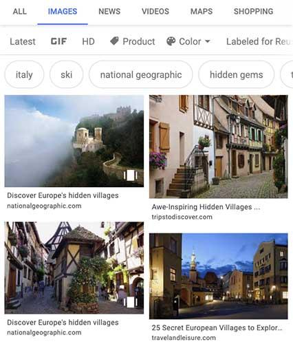Apparence dans les résultats images d'une Google Web Stories