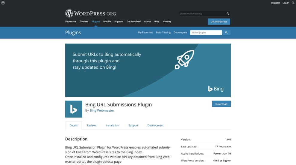 Wordpress : Extension Bing URL Submission
