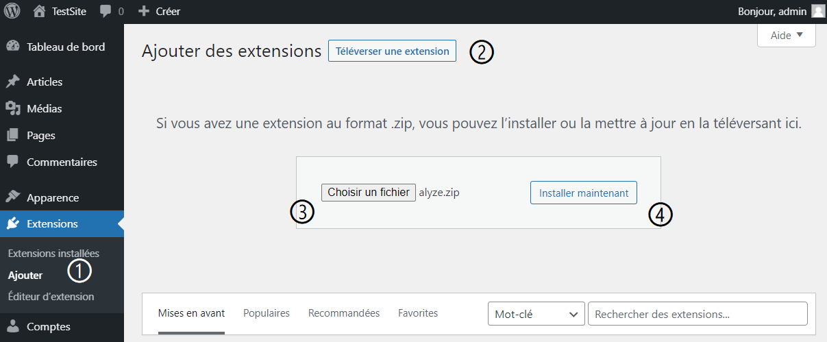 wordpress installer extension